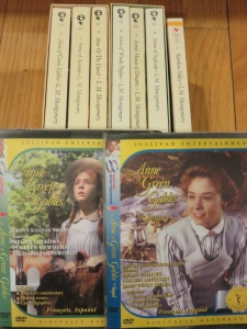 My current Anne of Green Gables collection: seven books and two DVDs.